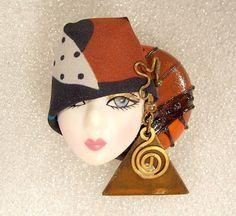 Lady Face Pin Brooch