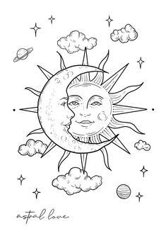 Line Drawing - Close Up - Astral Love - Zaya Indie Drawings, Art Drawings Sketches Simple, Easy Drawings, Graffiti Art Drawings, Moon Sketches, Tattoo Sketches, Arte Sketchbook, Hippie Art, Hippie Drawing