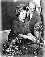 Dorothy Retallack and Professor Broman working with the plants used in music experiments.