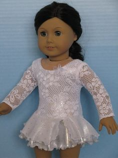 """White Lace Over Silver Ice Skating Dress for American Girl and other 18"""" Dolls"""