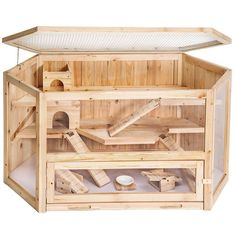 XXL Large Wooden Hamster Cage - I'd love a taller, larger version of this for my chinchillas. The look, shape and setup are so cool.