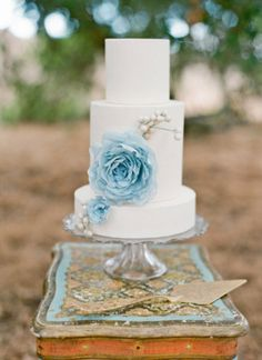 Baby Blue Rice Paper Flowers  Cake by Stevinix
