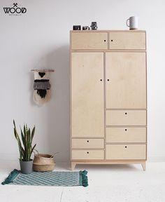 Baba 4 Handmade Plywood Wardrobe - pinupi love to share Modular Furniture, Bespoke Furniture, Plywood Furniture, Diy Furniture, Furniture Design, Plywood Interior, Furniture Removal, Modern Furniture, Furniture Cleaning