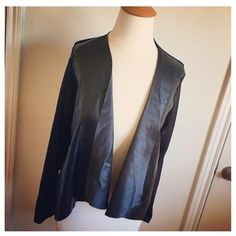 🎉HP🎉Black Faux Leather & Knit Cardigan Gorgeous piece but I can't justify keeping yet another leather knit cardigan in my closet :) brand new with all tags, this was purchased in Asia during my Summer vacation. Sweaters Cardigans