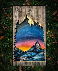 15 ideas for nature mountains country Acrylic Painting Lessons, Artist Painting, Painting On Wood, Wood Burning Patterns, Wood Burning Art, Picture On Wood, Picture Frames, Wood Crafts, Fun Crafts