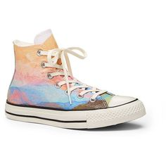 Chuck Taylor All Star Ox High Top Sneaker ($65) ❤ liked on Polyvore featuring shoes, sneakers, orange, lacing sneakers, vintage high top sneakers, high top shoes, lace up high top sneakers and orange shoes