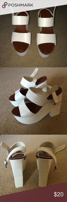 White Platform Sandals Cute white platform sandals from Shoemint. New and never worn Shoemint Shoes Platforms