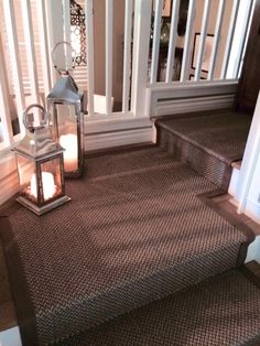 Siskiyou sisal stair runner fabricated with wide chocolate cotton binding.  Onsite cut to fit with off site fabrication.