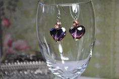 Purple and Brown Heart Earrings, $10.00. Made with Silver Ear Hooks, Czech Fire-polished Heart Crystals, Czech Fire-polished Round Glass.  Stunning Earrings!  Thanks for stopping by The Secret Jewelry Box.