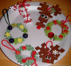 365 DAYS OF FUN WITH THE                               GREENETEAM: Day 177... Puzzle Piece Ornaments