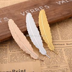 6a71a98322  backtoschool 7 Colors Metal Feather Bookmark Document Book Mark Label  Golden Silver Rose Gold Bookmark
