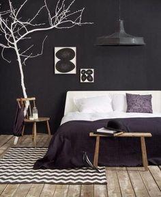 Mur noir Chambre à coucher Studio Joyz via Nat et nature