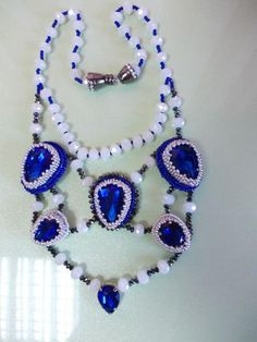 Gorgeous cabochons and seed beads necklace made by  Nadezhda Ohkolas from LC.Pandahall.com