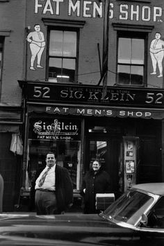 """Elliott Erwitt ~ In the days before political correctness...    I'm not sure when it switched from being the """"Fat Men's Shop"""" to the """"Big and Tall"""" guys stores.  ;-)"""