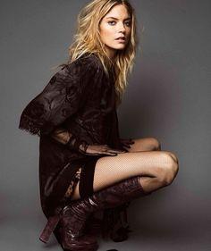 Martha Hunt wears  an embellished look with block-heel boots for Harper's Bazaar Magazine Mexico November 2016 editorial
