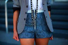high waisted shorts + blazer