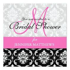 950ea1be82a4 Bridal Shower Invitation Damask Hot Pink Monogram Turquoise Bridal Showers