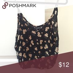 Brandy Melville cropped floral top Lightweight barely worn crop top. Brandy Melville Tops Crop Tops