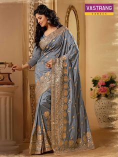 Pure Silk Saree With Embroidery & Patch work for a special occasion