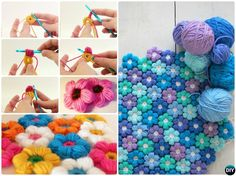 Puff Stitch Crochet Flower Blanket Free Pattern