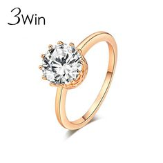 WinWinWin Simple Shiny Crown Rings for Women Engagement Jewelry Fashion Elegant Women Gifts Party Wedding Rings Copper CZ anillo #Affiliate
