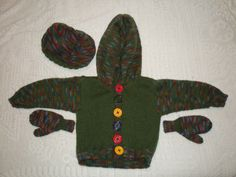 The cardi, mittens and hat for my nephew M. BTW, the buttons aren't functional, there are snaps to hold the sweater closed! Mittens, Charity, Dinosaur Stuffed Animal, Sweater, Knitting, Hats, Animals, Fingerless Mitts, Jumper