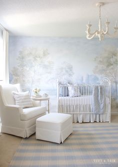 First snowfall by Benjamin Moore. A Whimsical Nature Themed Nursery fit for a Prince. Design by Tuft & Trim Interior Design Nature Themed Nursery, Whimsical Nursery, Baby Nursery Decor, Nursery Themes, Baby Decor, Nursery Room, Girl Nursery, Girl Room, Project Nursery