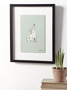Framed Turning Hare Print