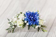 Blue Hair Comb Floral Bridal Headpiece Woodland Hair Piece Fall Navy Blue Flower Hair Comb Rustic Fl