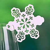 Snow+Shaped+Place+Card+For+Wine+Glass+Card+(S...+–+GBP+£+3.29
