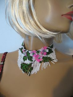 necklace,apple blossom-set my birthday ... toho11 beads, delica 10 and 11 Mallorca pearls, Swarovski, silver accessories ...