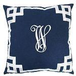 Monogrammed Navy Greek Key Pillow