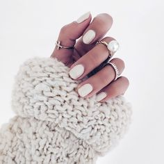 white nails for winter. knit. #rings