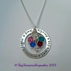 Large sterling silver Family washer necklace with birthstone crystals - The Supermums Craft Fair