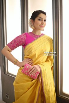 Looking for best contrast blouse ideas to try with yellow saree? Here are 13 pretty colors that can add whole lot of charm to your vibrant yellow sarees! Pink Saree Blouse, Pattu Saree Blouse Designs, Saree Blouse Patterns, Latest Saree Blouse Designs, Designer Saree Blouses, Wedding Saree Blouse Designs, Blouse Back Neck Designs, Sari Bluse, Yellow