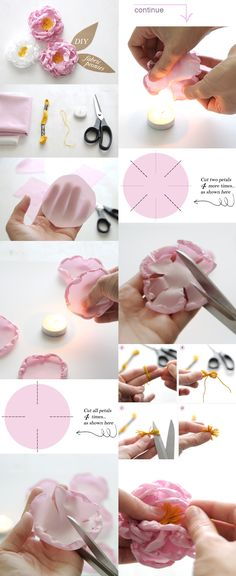 DIY Fabric Peony Flower requiring 100% polyester fabric