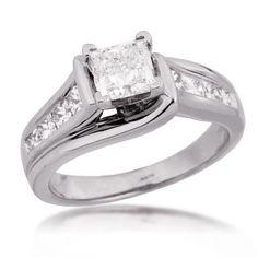 Ladies Diamond Engagement Ring in White Gold -Price: $7,000