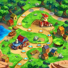 Fairy Mix Game Art on Behance Board Game Design, Game Ui Design, Village Games, Game Background Art, Forest Games, Map Games, Board Games, Isometric Design, Isometric Map