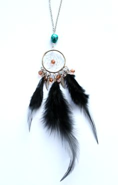 Image of Turquoise stone dream catcher necklace