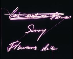 "Tracey Emin, 'Sorry Flowers Die,' 1999, ICA Miami ""Emin creates crucial body works in neon""."