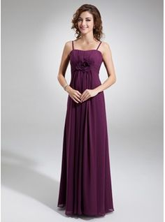 Empire Sweetheart Floor-Length Chiffon Bridesmaid Dress With Ruffle Flower(s) (007004300) - JJsHouse
