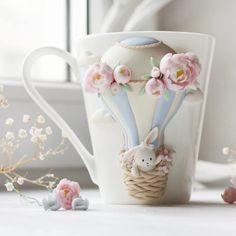 Polymer Clay Animals, Polymer Clay Dolls, Polymer Clay Flowers, Polymer Clay Crafts, Mug Crafts, Diy And Crafts, Arts And Crafts, Clay Jar, Clay Mugs