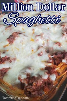 Easy Million Dollar Spaghetti Casserole Recipe is layers of spaghetti, ground beef, Ricotta and Cream Cheese, and sauce! This easy dinner recipe is great for a crowd. The perfect Italian Comfort Food filled with flavor and all the cheese. Healthy Chicken Recipes, Pork Recipes, Slow Cooker Recipes, Million Dollar Spaghetti, Taco Dinner, Stove Top Recipes, Spaghetti Casserole, Good Food, Yummy Food