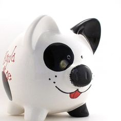 Personalized Piggy Bank  Black and White Puppy Dog  by ThePigPen, $42.50