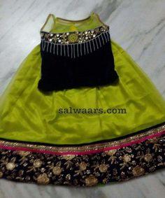 Light Green Lehenga Velvet Blouse - Indian Dresses