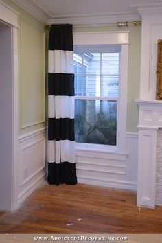 how to make black and white horizontal striped lined draperies - 7 Black And White, Striped Decor, Lined Curtains, Diy Home Decor, Home Decor, Striped Bedroom, Black Decor, Horizontal Striped Curtains, Diy Window