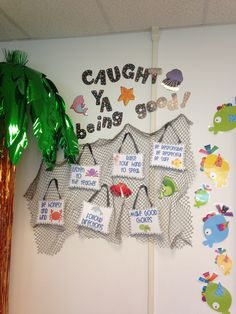 Behavior board to display class rules. Pass out slips of papers that say caught ya! Kids put them in a pot and draw for prizes each week. I bought the rules off tpt!!