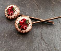 Decorative Pink Embroidered Petit Point Hair Bobby by WillowBloom