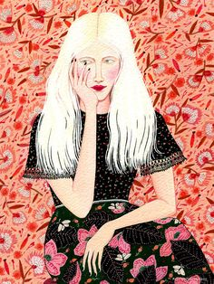 blushing blonde ORIGINAL PAINTING by beccastadtlander on Etsy