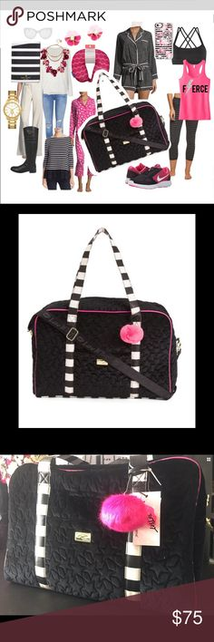 Betsey Johnson Weekender black duffel bag NWT tote New Luv Betsey by Betsey Johnson Quilted Weekender striped Velvet black & Pink Stars duffel duffle travel carry on bag New with Tags! Black is sexy and will always hide dirt!!  Travel in style with the Cruisn Bag Dual flat carry handles Removable & adjustable shoulder strap. Exterior features a charming design and a slip pocket at front Flat base Lined interior features one zip pocket and four slip pockets. Measurements: Width: 17 1⁄2 in…